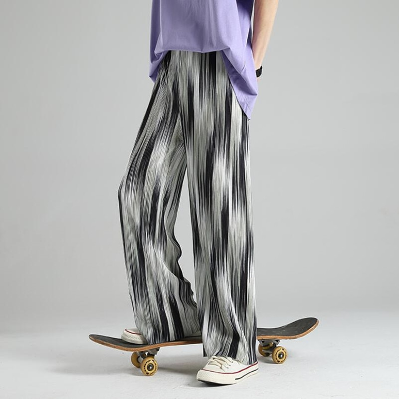 2021 тонкие повседневные брюки, мужские Модные серые, черные, белые широкие брюки, Мужская Уличная одежда, свободные дышащие брюки из ледяного...