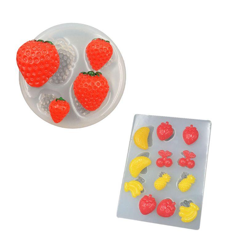 Hecho a mano fresa piña plátano naranja molde de resina epoxy fruta colgante molde lavavajillas, horno, microondas