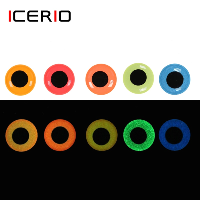 ICERIO 50PCS Luminous 3D Epoxy Fish Eyes for Fly Tying Streamer Lure Jig Bait Making Material icerio 50pcs fly tying brass beads nymph streamer bugs fly hook tying materials