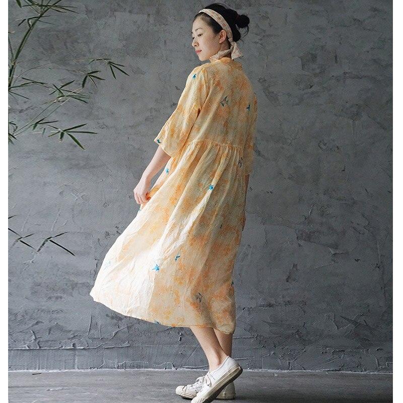 Scuwlinen 2020 primavera verão vestido feminino vintage elegante impressão gola jade botões longo solto artsy ramie vestido p237
