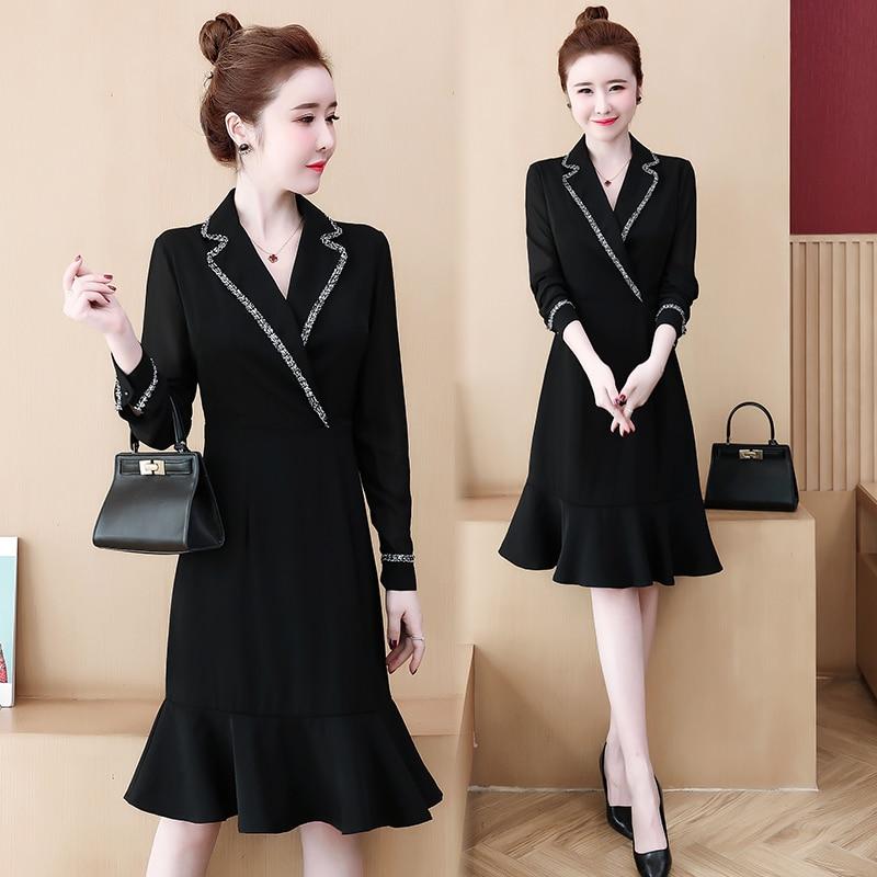 Vestido de sirena de talla grande L-5XL para mujer XXL XXXL 3XL XXXXL 4XL otoño oficina de negocios ropa de trabajo para señoras vestidos de manga larga