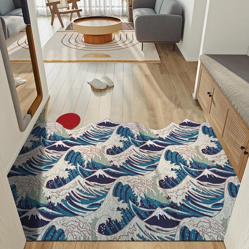 موجة ممسحة لغرفة النوم عدم الانزلاق البساط المدخل وسادة الأرضيات القابلة للغسل سهلة نظيفة السجاد مدخل مقاومة الأوساخ الصياد السجاد كوتابل