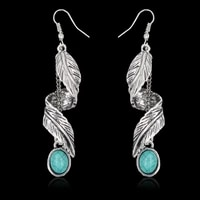 vintage bohemian feather stone earrings for women fashion metal clothing earring accessories