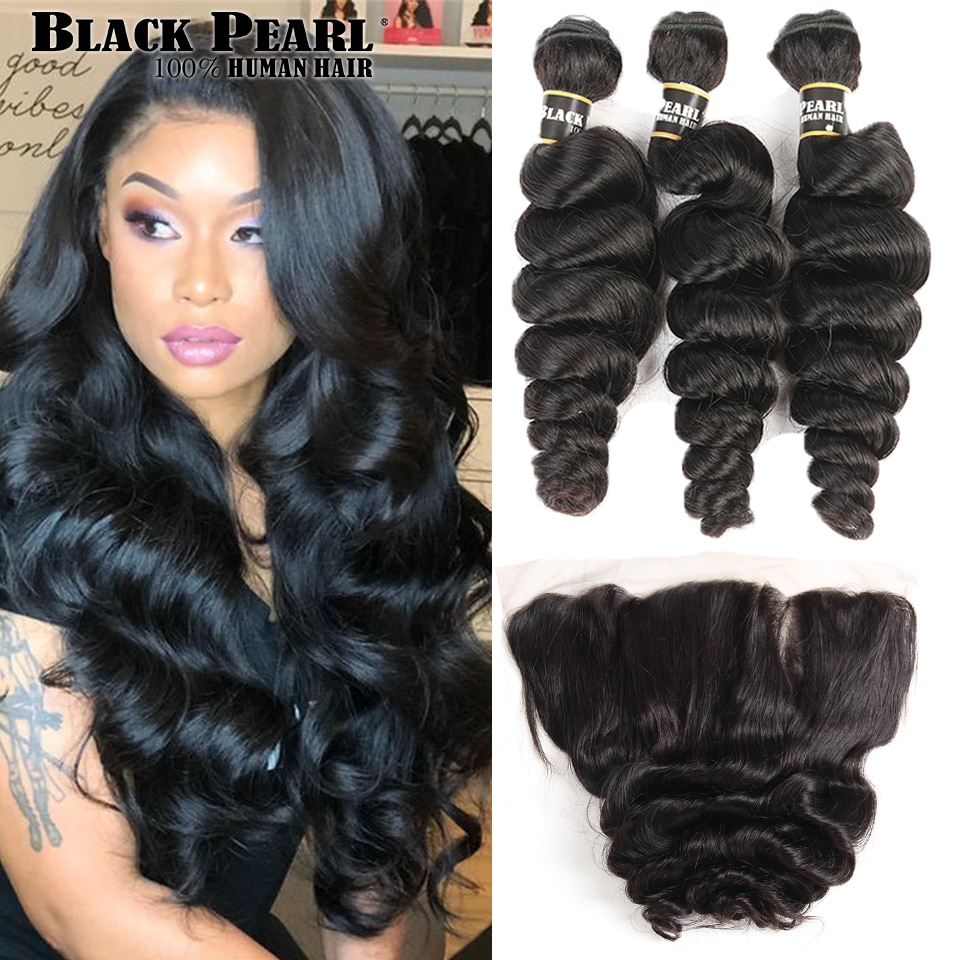 Black Pearl Brazilian Loose Wave Bundles With Frontal Remy Human Hair 3