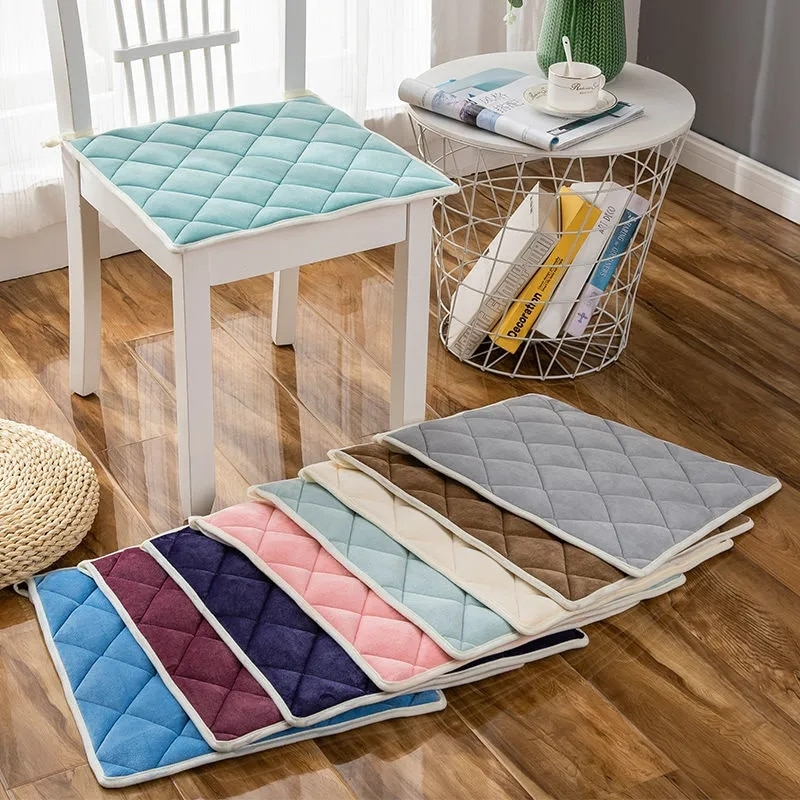 Современные Бархатные Подушки для стульев в простом стиле, квадратные однотонные защитные коврики для компьютерных стульев, для дома, офиса, студентов