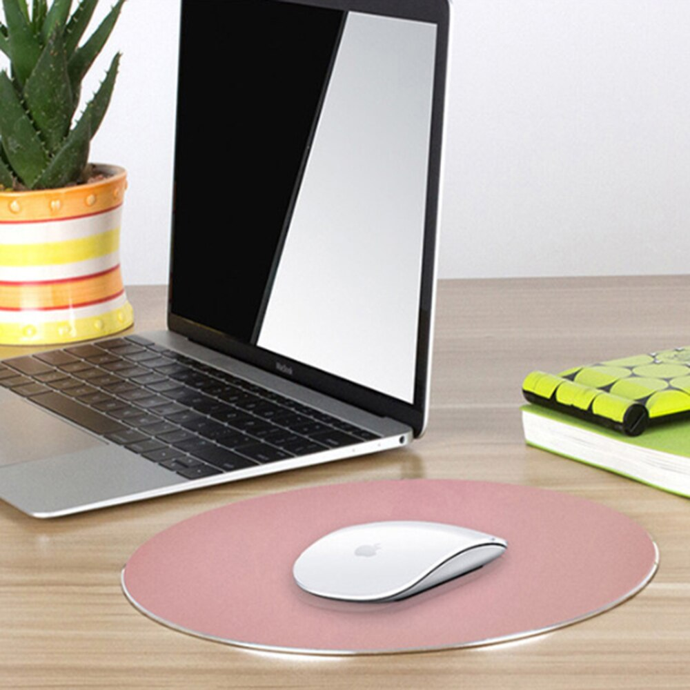Aluminium Alloy Waterproof Round Desktop Gaming Mouse Mat Pad Computer Accessory