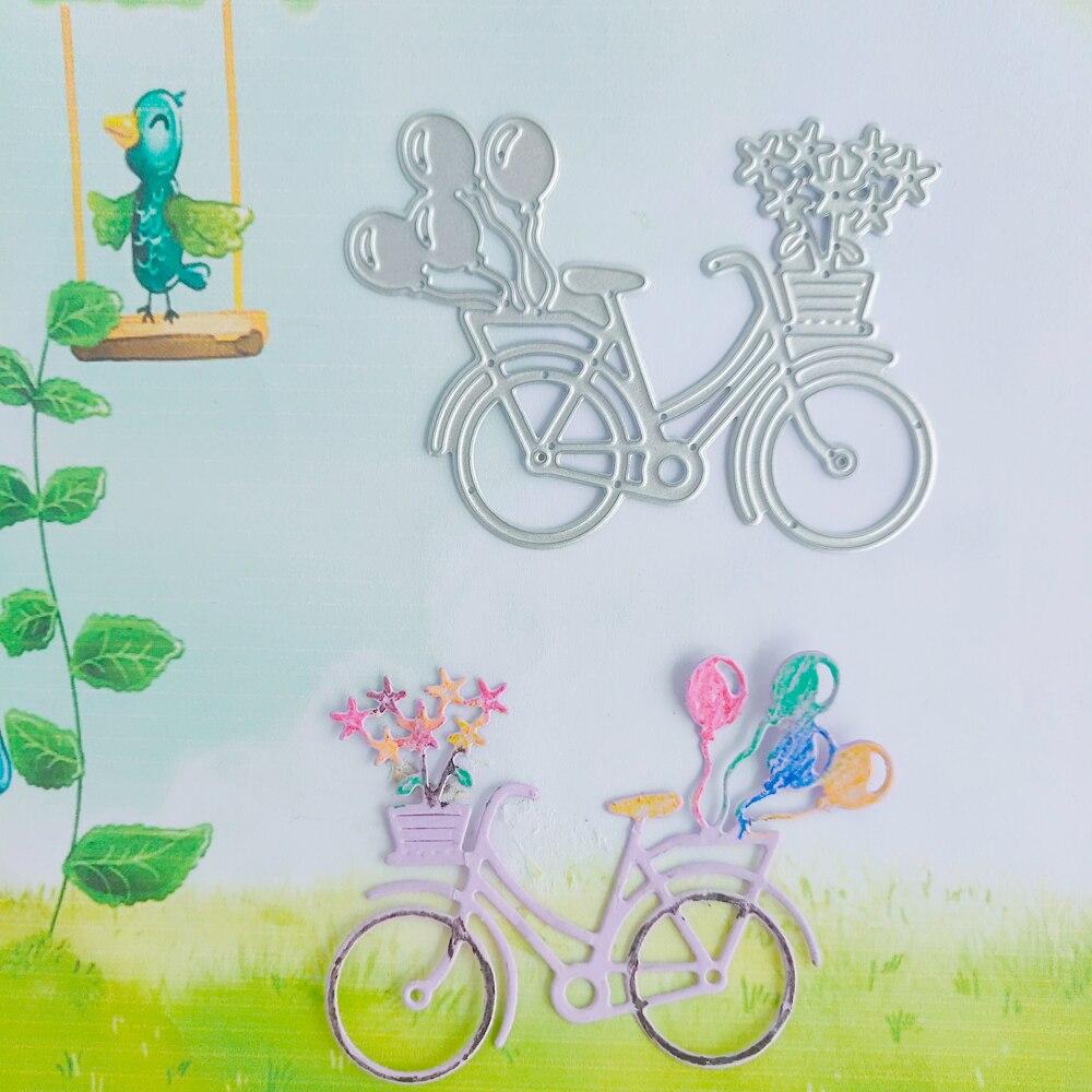 Bicicleta flor azul globo propio coche corte troquelado nuevo cuchillo troquel Metal corte molde 3D arte papel decoración DIY