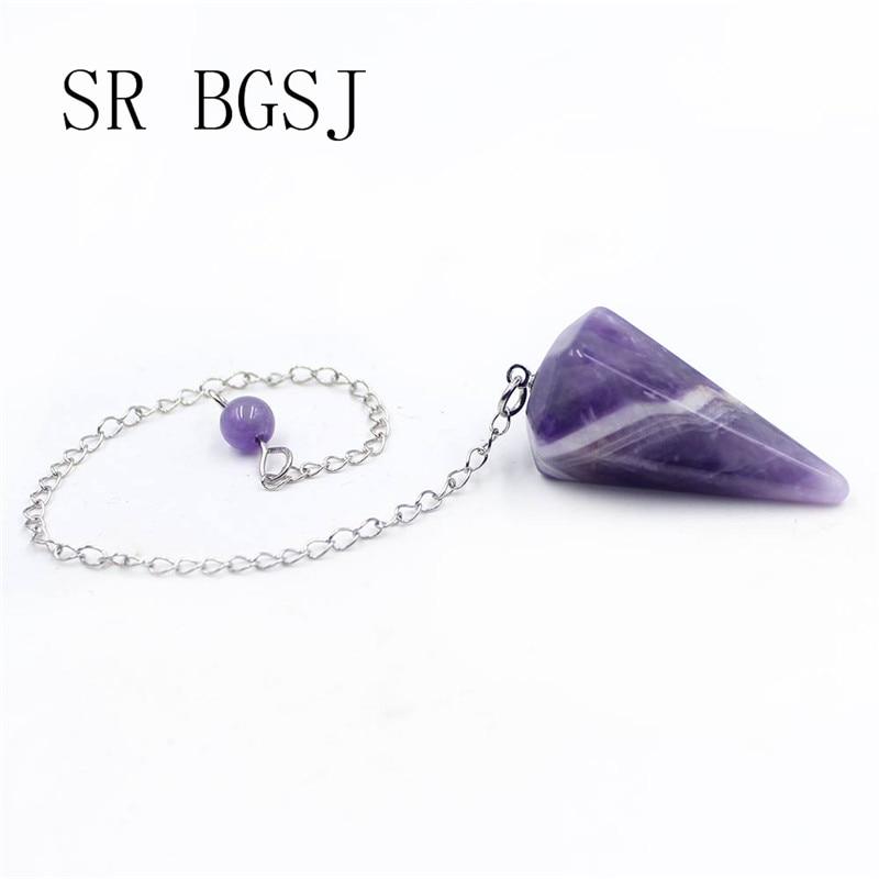 Envío Gratis, joyería de moda, péndulo Hexagonal, amatistas, gemas, piedra de meditación, Reiki, colgante terapéutico