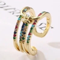 2021 fashion personalized open ring womens copper plated color zircon geometric ring christmas gift couple wedding rings