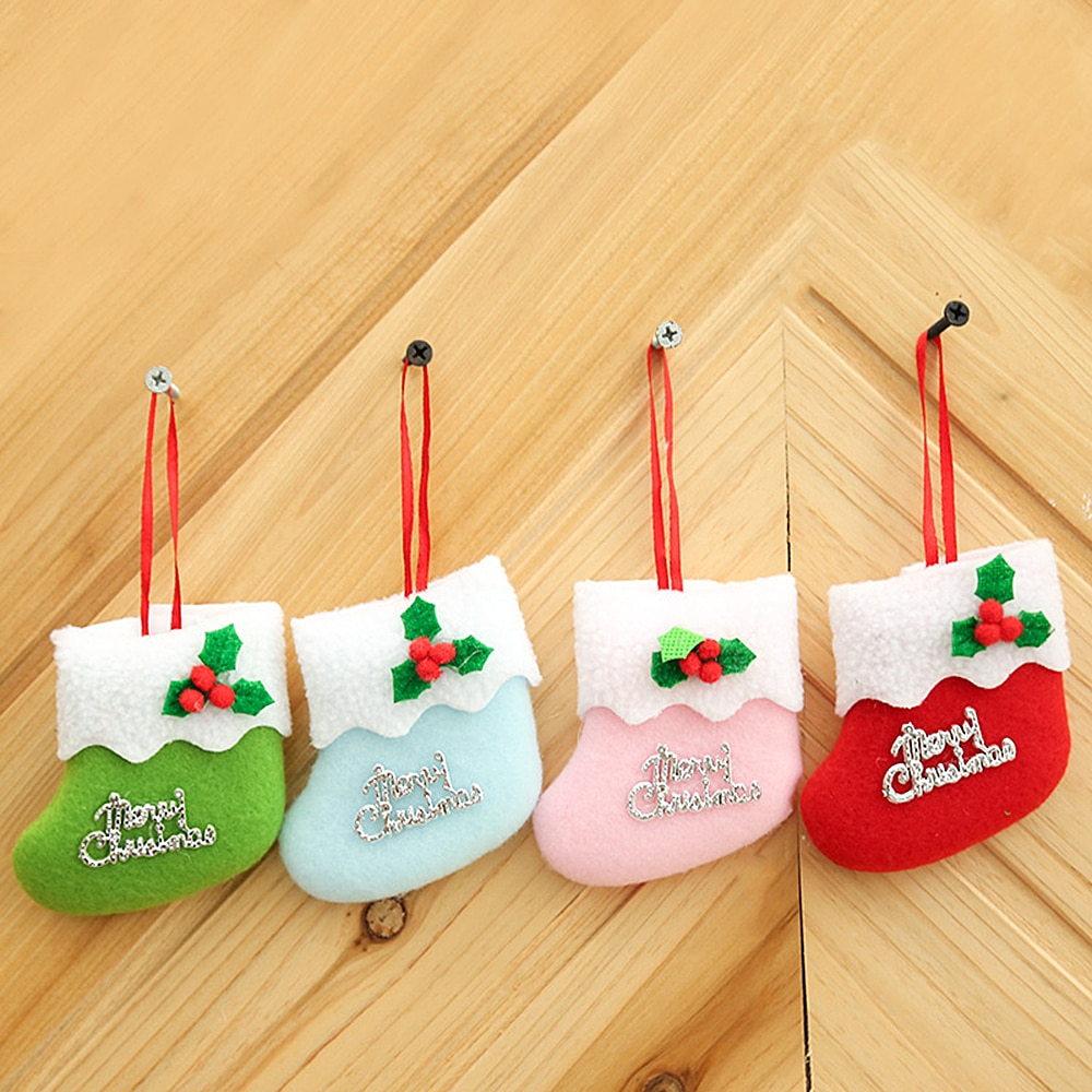 1pc Creative Christmas Socks Hanging Ornaments Cloth Small Boots Pendants Home Party Christmas Tree Decoration  Ornaments  Santa