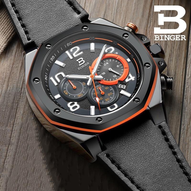 BINGER-ساعة رياضية للرجال ، متعددة الوظائف ، كرونوغراف ، كوارتز ، تقويم ، مستورد ، عصري ، مقاوم للماء
