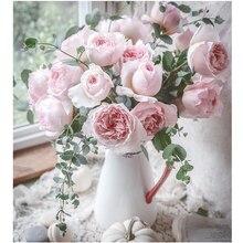 Vase de rose rose de décoration pour la maison   Peinture à lhuile par numéros, peinture sur toile par numéros, cadeau fait à la main pour adultes et enfants, bricolage