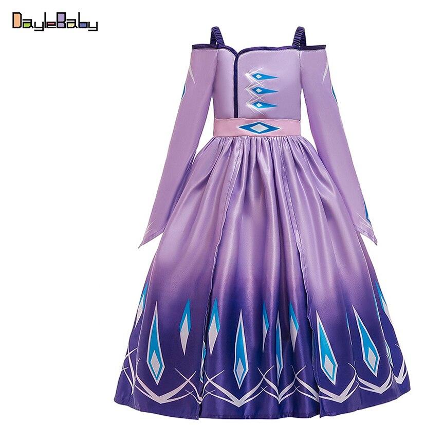 Vestido de princesa Elsa nuevo estilo Frozens Anna Cosplay disfraz de los niños de la Reina de la nieve fiesta de cumpleaños Cosplay vestido de un cuello
