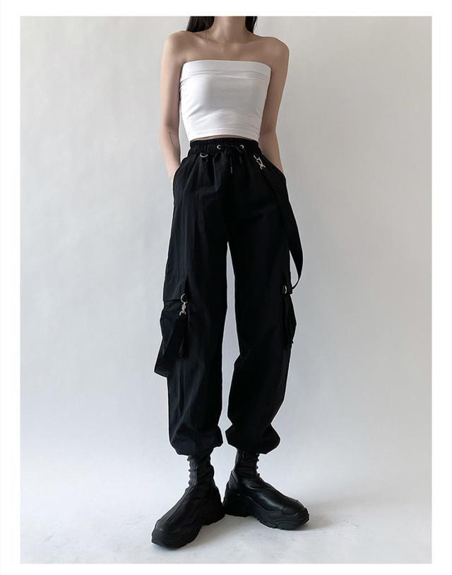 Черные женские уличные брюки в стиле Харадзюку, черные брюки со съемными лямками, женские повседневные брюки-карго с эластичным поясом