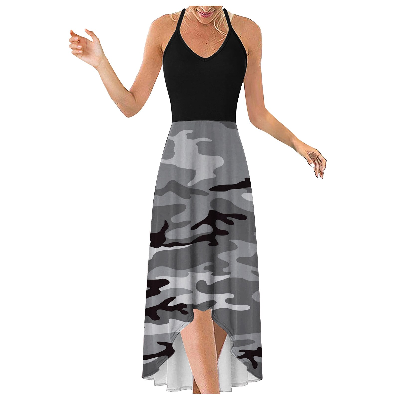 2021 Summer Fashion Stitching Printing Suspender Sexy Slim Women's Dress