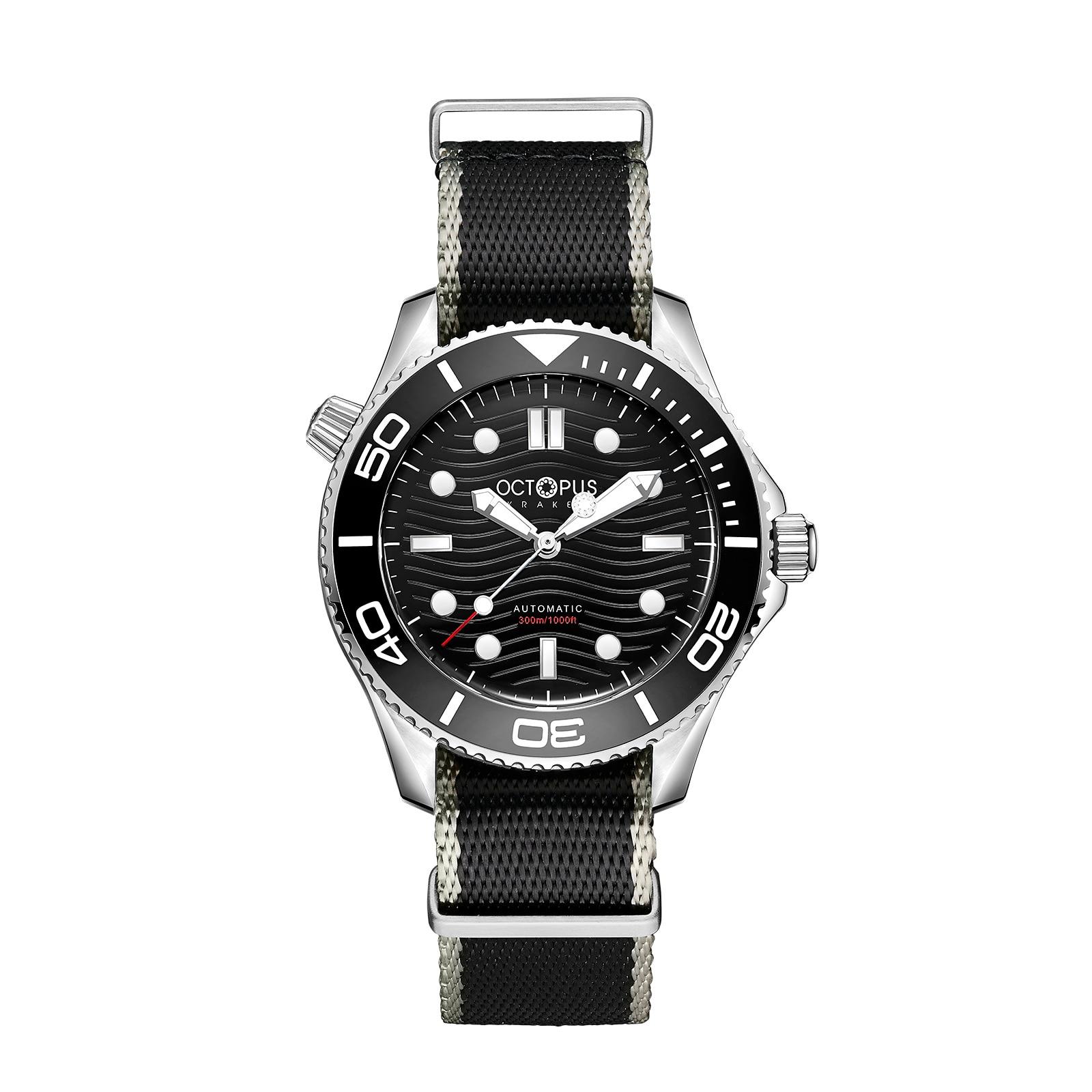 الأخطبوط رجالي ساعات أوتوماتيكية الرجال غواص ساعة عسكرية 300 متر مقاوم للماء ساعة اليد الميكانيكية C3 مضيئة PT5000 حزام نايلون