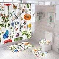 bathroom decor waterproof shower curtain set toilet cover non slip bath mat rug carpet toilet seat bathroom accessories washable