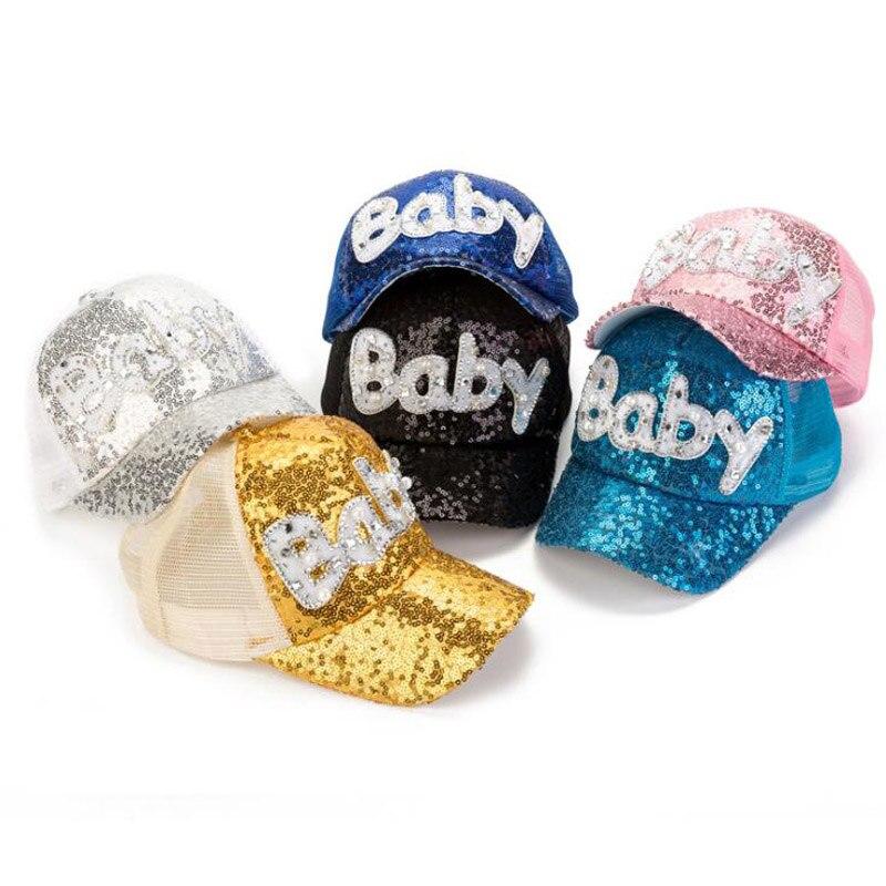 Gorra de béisbol infantil de malla Doitbest de 2-8 años de edad con lentejuelas letras para bebé verano Hip Hop niños sombreros chicos chicas gorra gorras snapback gorras