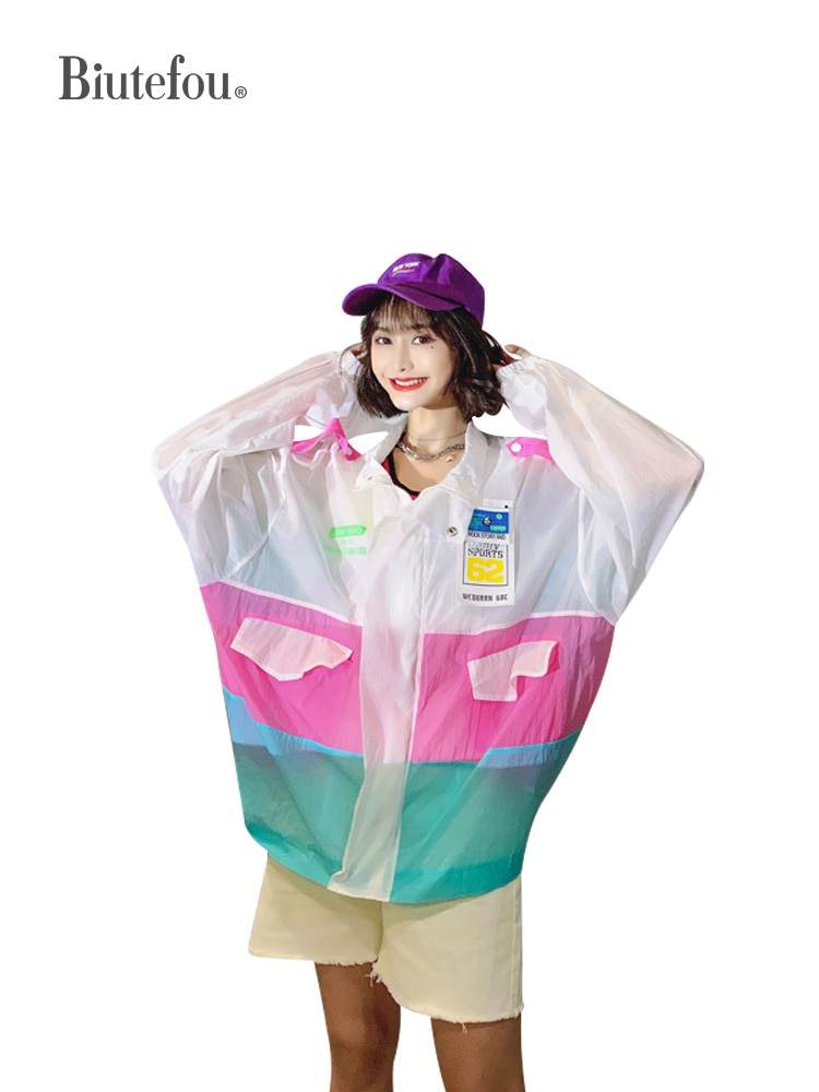 2021 Summer Women Thin Loose Plus Size Patchwork Badge Sun Protection Chic Coat