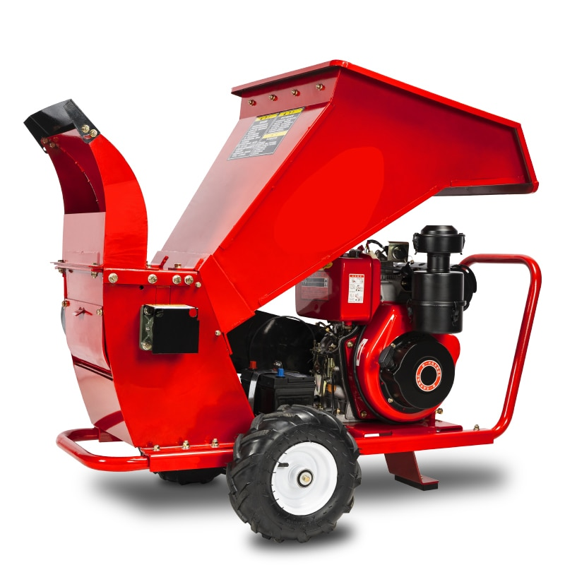 Trituradora móvil de jardín de fruta con arranque eléctrico de 16HP, trituradora de madera, trituradora de ramas de árbol, paja de Agricultura, uva
