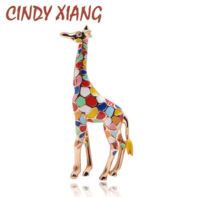 Broches de esmalte de jirafa CINDY XIANG para mujer, bonito broche de moda Animal, joyería de Color dorado, regalo para niños, Broches exquisitos