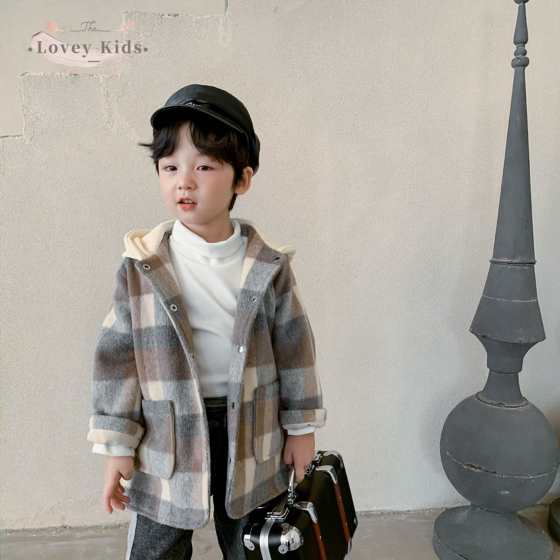 2020 Winter Warm Toddler Baby Boy Wool Coat Plaid Sample Korean Style Outerwear Fashion Hooded 1-6T
