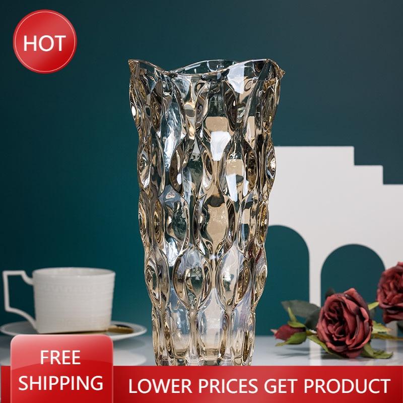 Jarrón de Cristal para decoración del hogar, maceta transparente para flores, decoración...