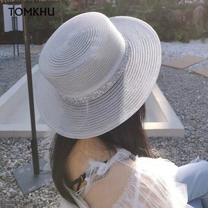 Summer Sun Hats Flat Classical Women Sun Hats Foldable Breathable White Black Church Cap for Ladies Rhinestone Band Boater Beach