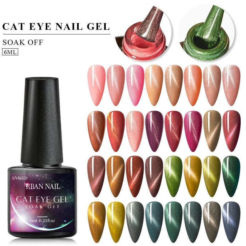 RBAN NAGEL 6ML Bunte Cat Eye Gel Nagellack Tränken Weg Nagel Gel Langlebige Katze Auge UV gel Lack Maniküre Nagel Salon