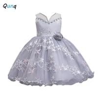 qunq girls princess dress star embroidery mesh kids ball gown wedding party dress summer sleeveless children performance costume