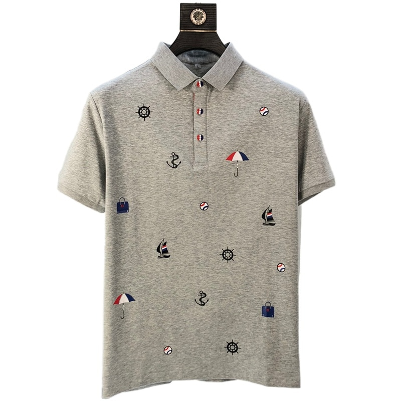 2021 New Brand Men's Polo Shirt Summer Short Sleeve Classic Homme Clothing Casual Cotton Luxury Designer Slim Print Fashion Tops