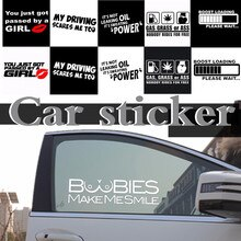 Car Stickers Vinyl Graphic Funny Character Decal Letter Personality Motorcycle Decoration White/Blac