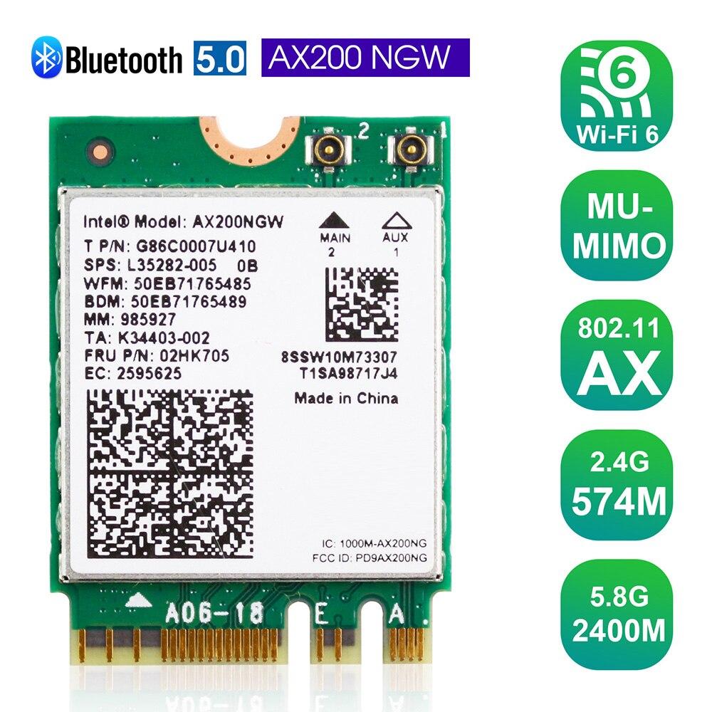 ثنائي النطاق تردد WiFi6 بطاقة الشبكة اللاسلكية بطاقة الشبكة اللاسلكية دعم BT 5.1 MU-MIMO NGFF M.2 محول بطاقة