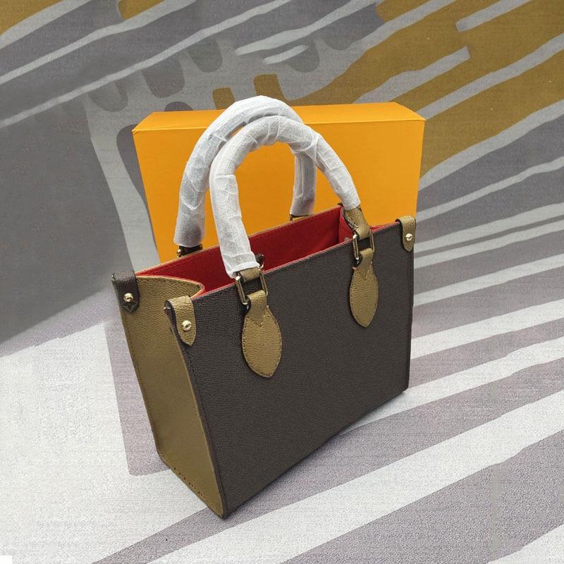 حقيبة يد نسائية فاخرة جديدة حقيبة الجراب الجلدية اللون مطابقة مزدوجة الجانب زهرة كبيرة حقيبة تسوق حقيبة الكتف واحدة