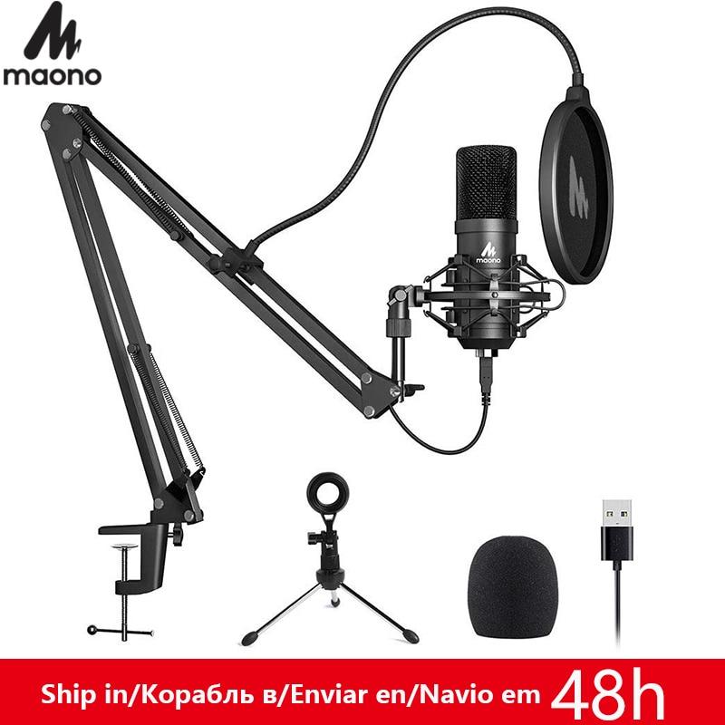 MAONO A04Plus USB micrófono condensador cardioide de Podcast Microfono 192kHz/24bit macho y jugar con streaming YouTube ASMR