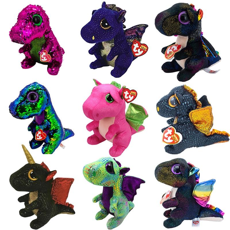 Ty с большими глазами мягкий Мягкие плюшевые игрушки розовый динозавр синий дракон черного цвета с рисунком динозавра, плюшевое игрушечное ...