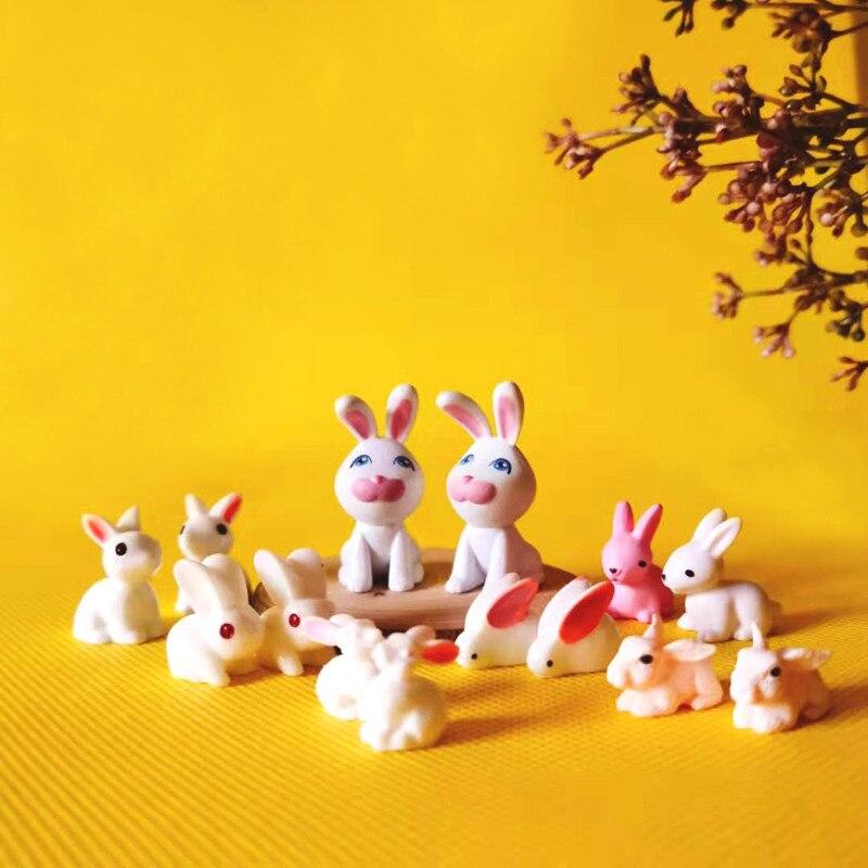 Novo 10 10 pçs/coelho/miniaturas/bonito/jardim de fadas gnome/musgo terrário decoração/artesanato/bonsai estatueta/diy boneca casa suprimentos