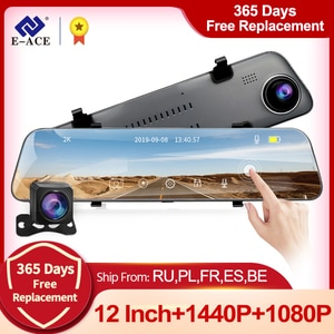 E-ACE A38 2K Car DVR 12 Inch Touch IPS RearView Mirror Dual Lens Dashcam Car Camera GPS Video Recorder Support Rear View Lens