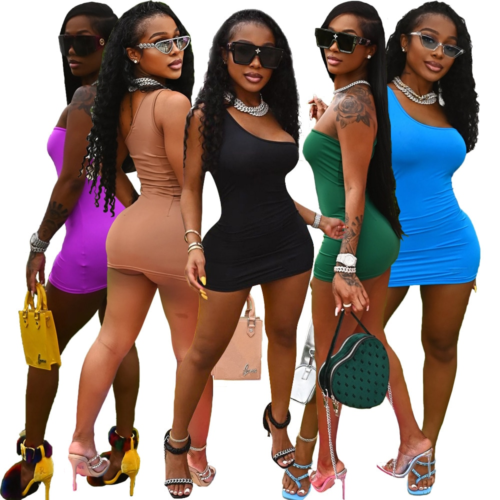 Sexy Women Mini Dress One Shoulder Solid Color Streetwear Skinny Mini Dress Clothes For Women Outfit dress bow hair bands ins solid color one shoulder sleeveless ruffle edge women s dress suspender dress family grl clothes