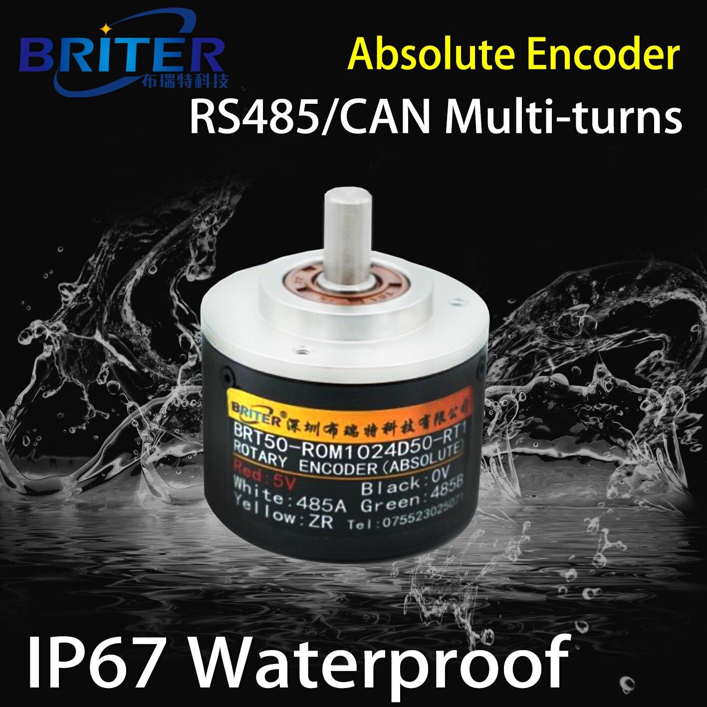 جهاز تشفير دوار مغناطيسي مقاوم للماء IP67 ، جهاز تشفير CANbus المطلق متعدد السرعات ، RS485 ModbusRTU ، قياس الزاوية ، إيقاف تشغيل الذاكرة