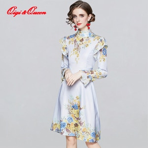 Qiqi&Queen Spring Printing Dress Work Casual Slim Fashion Knee-length A-line Dresses Women's Long Sleeve Vintage Office Vestidos
