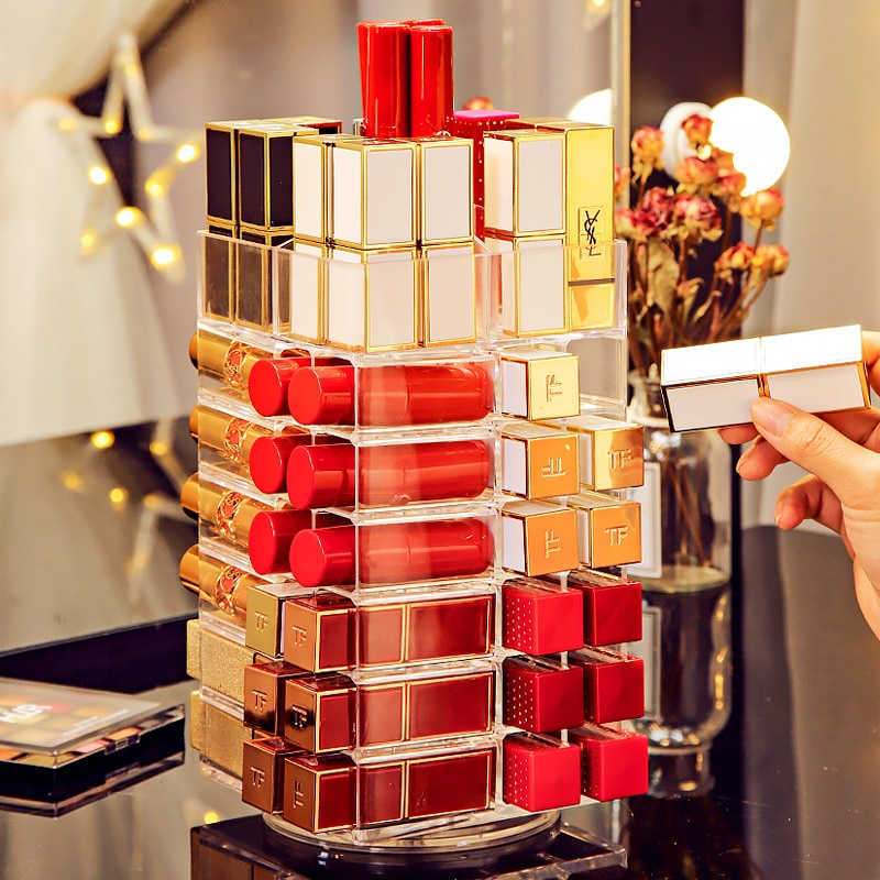 53 المشابك الدورية أحمر الشفاه برج 360 درجة البلاستيك استدارة رف مسمار البولندية المنظم أحمر الشفاه حقيبة للتخزين مستحضرات التجميل العرض