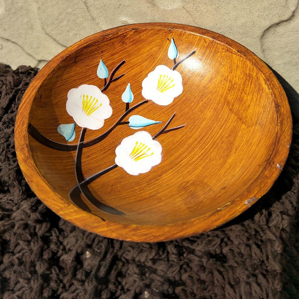 Прочный Средиземноморский стиль ручная роспись круглые деревянные фрукты сервировочный поднос тарелка блюдо