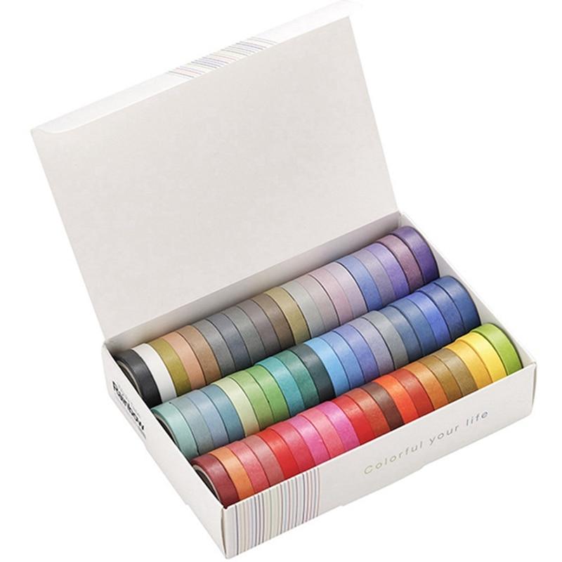 60Pcs/lot Rainbow Solid Color Decorative Adhesive Tape Masking Washi Tape Set DIY Scrapbooking Sticker Label Stationery A