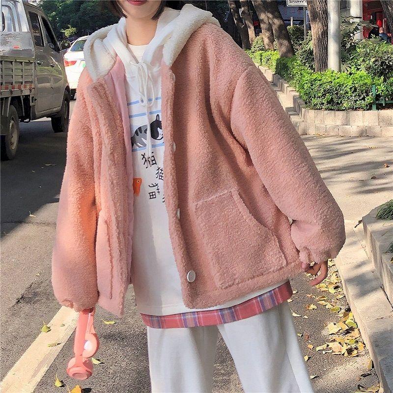 2021 Autumn Winter New Hooded Jacket Indie Women Cute Plus Velvet Thicken Imitation Lamb Velvet Korean Loose Student Coat Kawaii