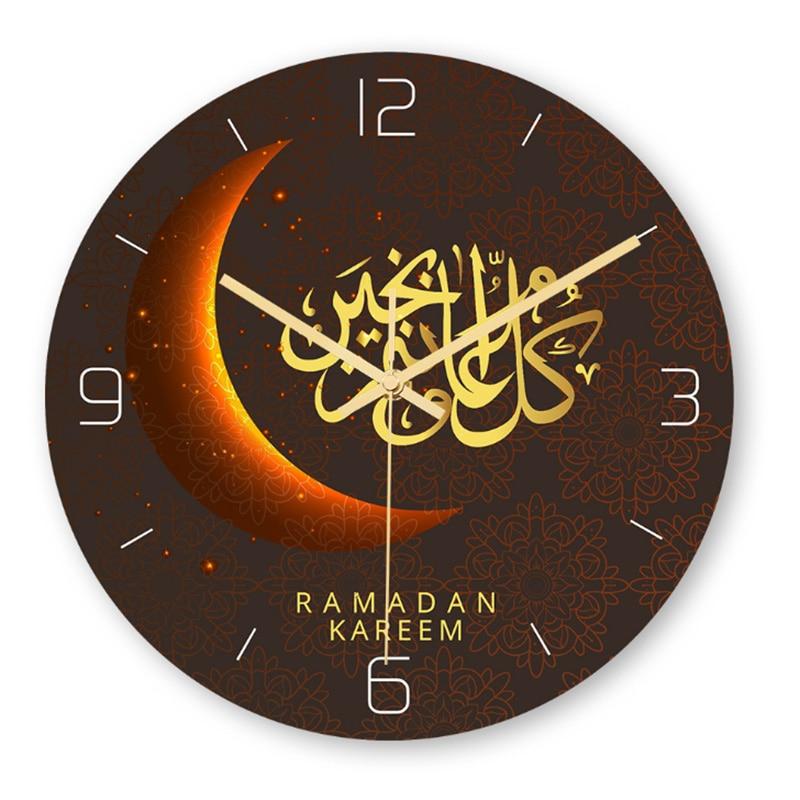 Wall Clock Decal Sticker Muslim Ramadan Mubarak Frameless 3D Home Decor Wall Clock Posters Wallpaper Islamic Wall Clock BB50W