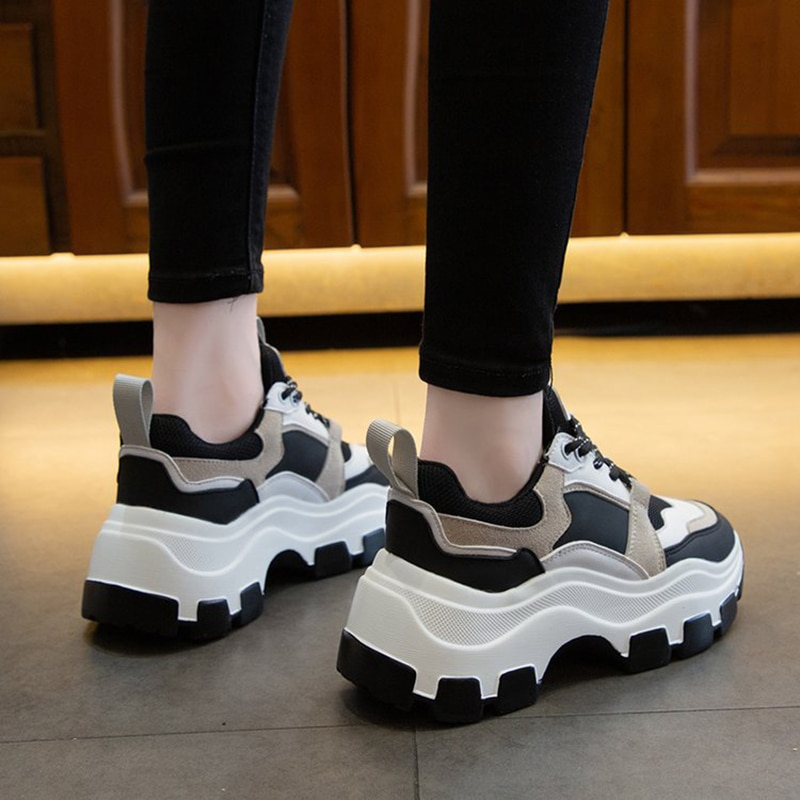 Women Sneakers Fashion Chunky Shoes Thick Sole Female Mesh Lace Up Platform Vulcanize Shoes Casual Footwear White Walking Shoes fashion chunky sneakers runway mixed colors v design sole shoes round toe leisure shoes mesh patchwork dad shoes
