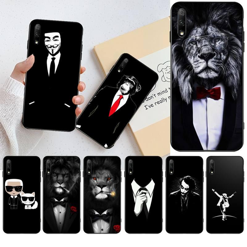 HPCHCJHM camisa de traje de hombre funda de teléfono negra suave para Huawei Honor 20 10 9 8 8x 8c 9x 7c 7a Lite view pro