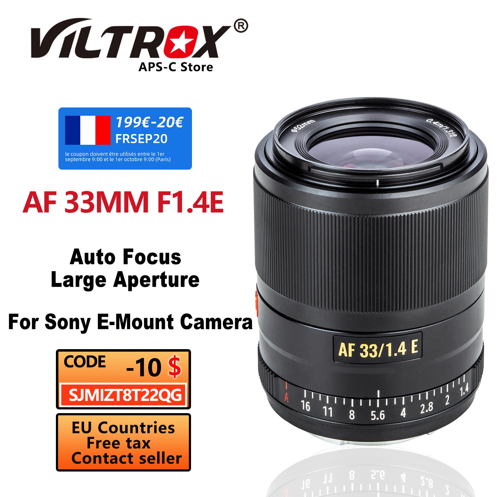 VILTROX 33 مللي متر f1.4 E AF السيارات التركيز عدسة الكاميرا المدمجة عدسة كبيرة APS-C لسوني E-mount A6600 A6500 A9 A7RIV A7II A7S