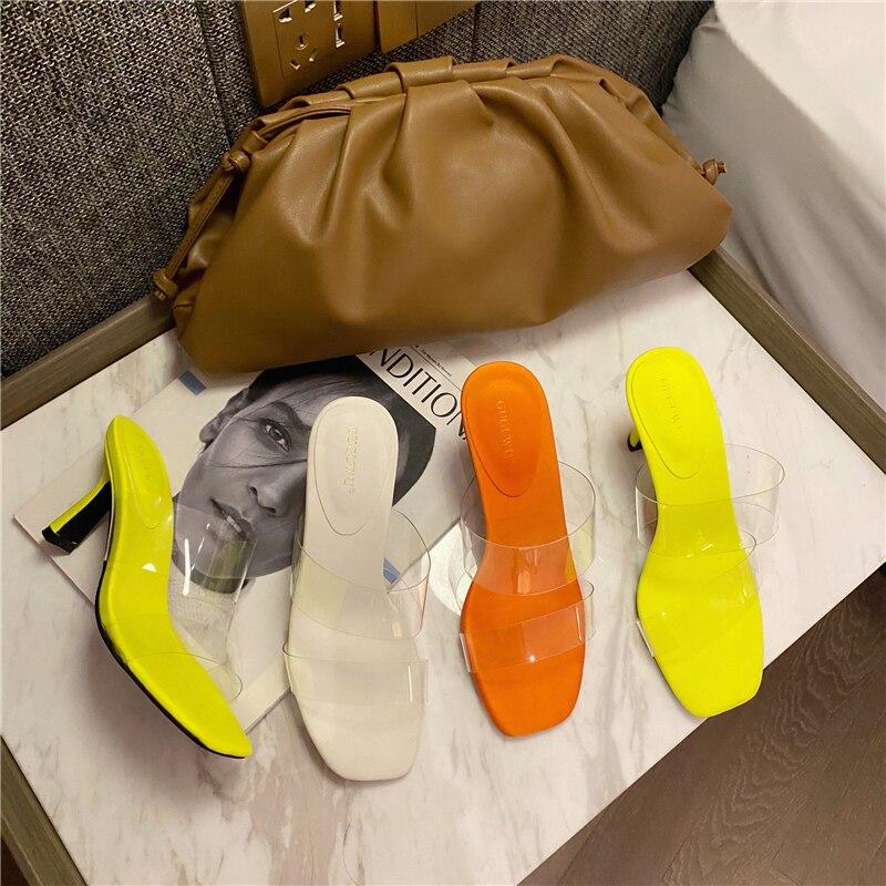 2020 verano mujeres amarillo naranja fino tacones altos gladiador claro zapatillas Mules Pleaser tacones bajos diapositivas zapatos de Stripper San Valentín